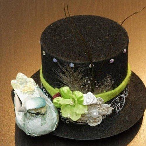 Bibi, chapeau haut de forme style victorien, vintage, steampunk, avec oiseau