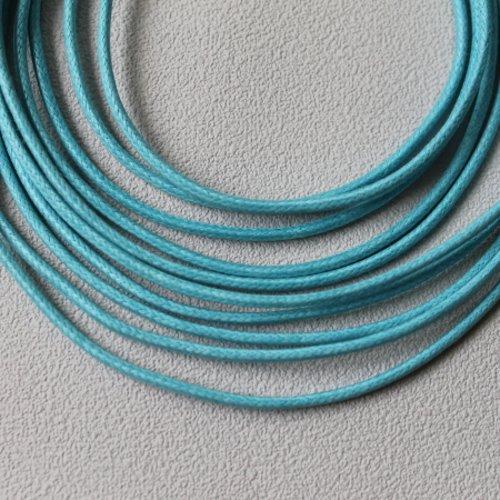 5 m cordon coton ciré 2 mm turquoise