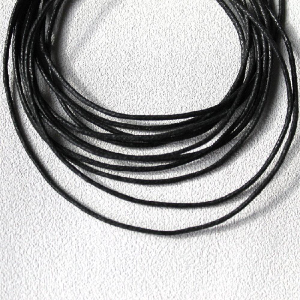 5 m cordon coton ciré 1.5 mm noir