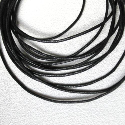 5 m cordon coton ciré 2 mm noir