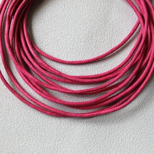 5 m cordon coton ciré 2 mm fuchsia