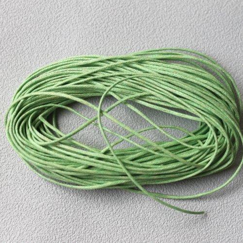10 m cordon coton ciré 0.9 mm vert clair