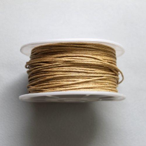 5 m cordon coton ciré 1 mm couleur nature