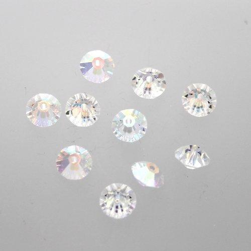 16 toupies aplaties  cristal ab 6 mm