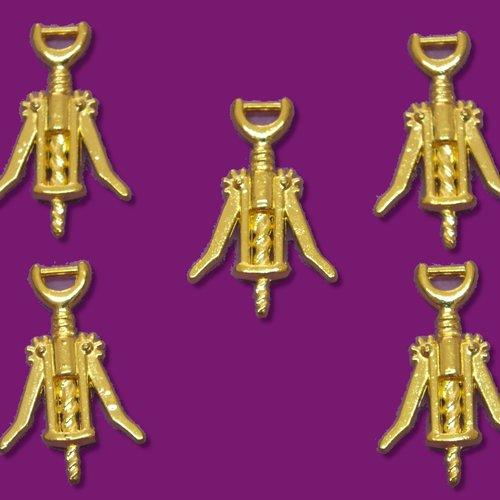 Lot 5 charms metals dorés : tire bouchon 26*16mm