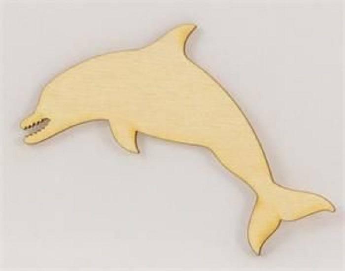 APPLIQUE EN BOIS BALTIQUE : dauphin 10*4.5cm
