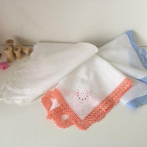 Mouchoir lavable bord crocheté