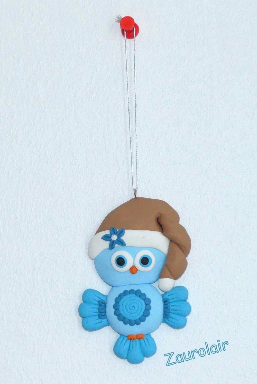 Ornement de Noël - Chouette bleue et marron en pâte Polymère
