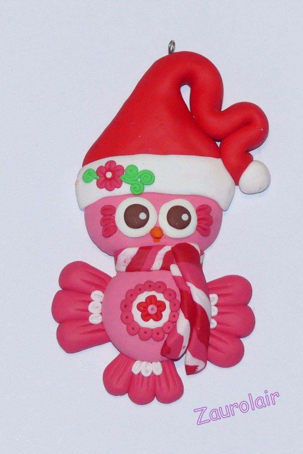 Ornement de Noël - Chouette rose et rouge  en pâte Polymère
