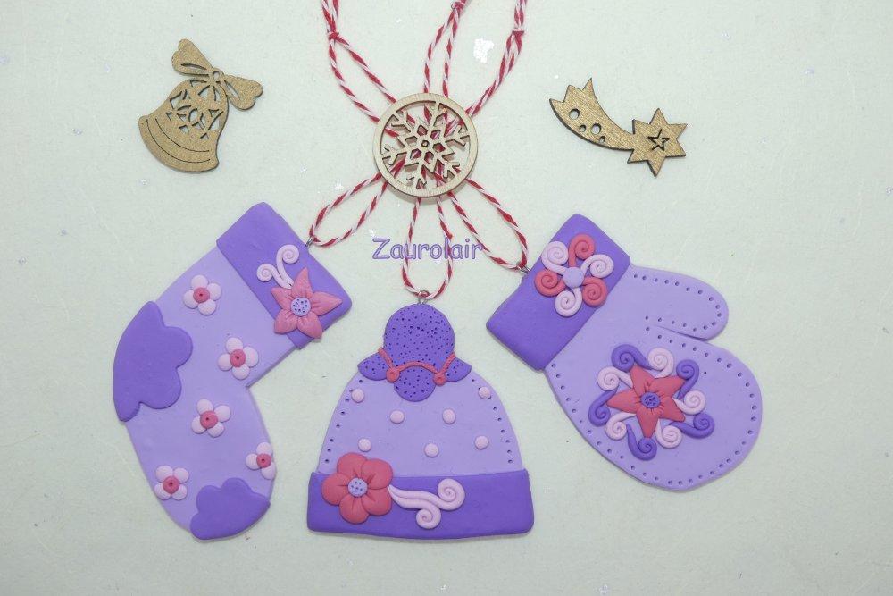 Bonnet en Fimo - Lavande - Ornement, décoration de noël