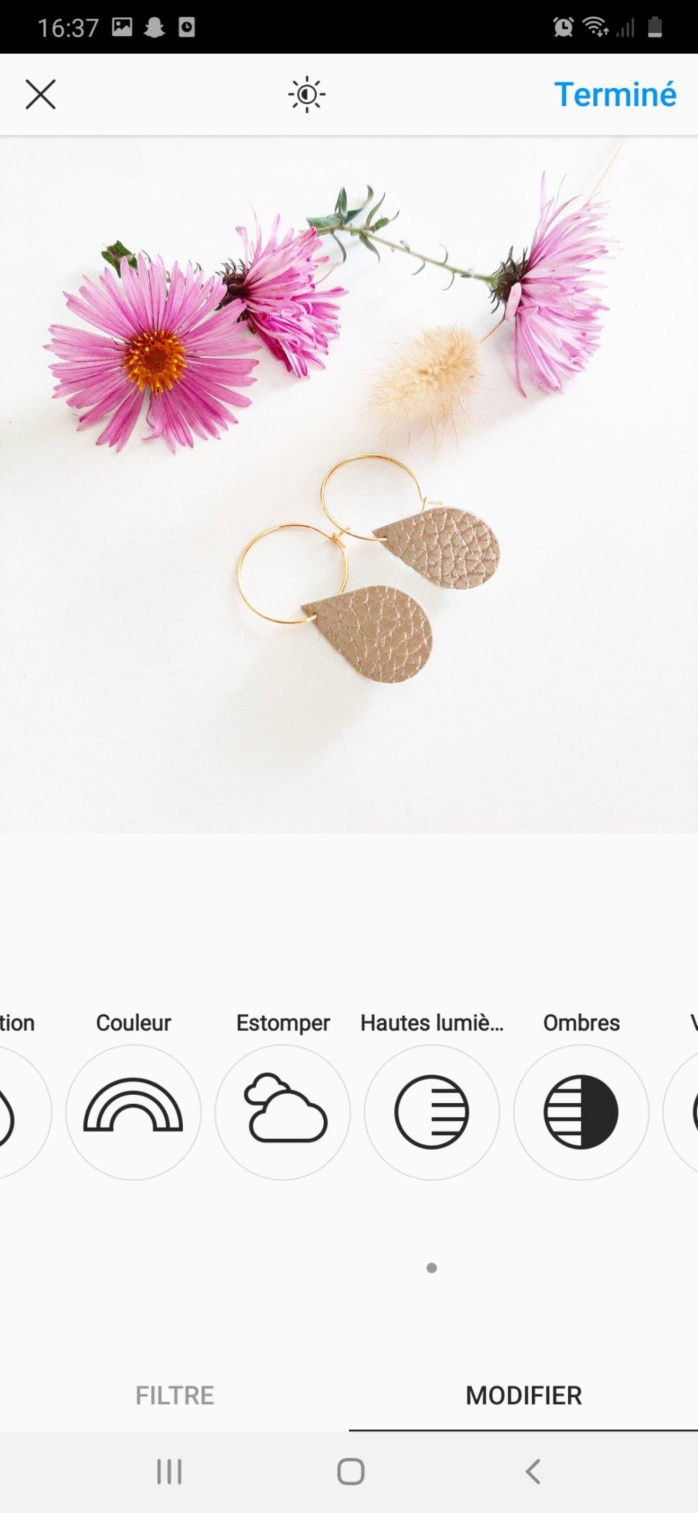 Créoles minimaliste goutte bronze doré