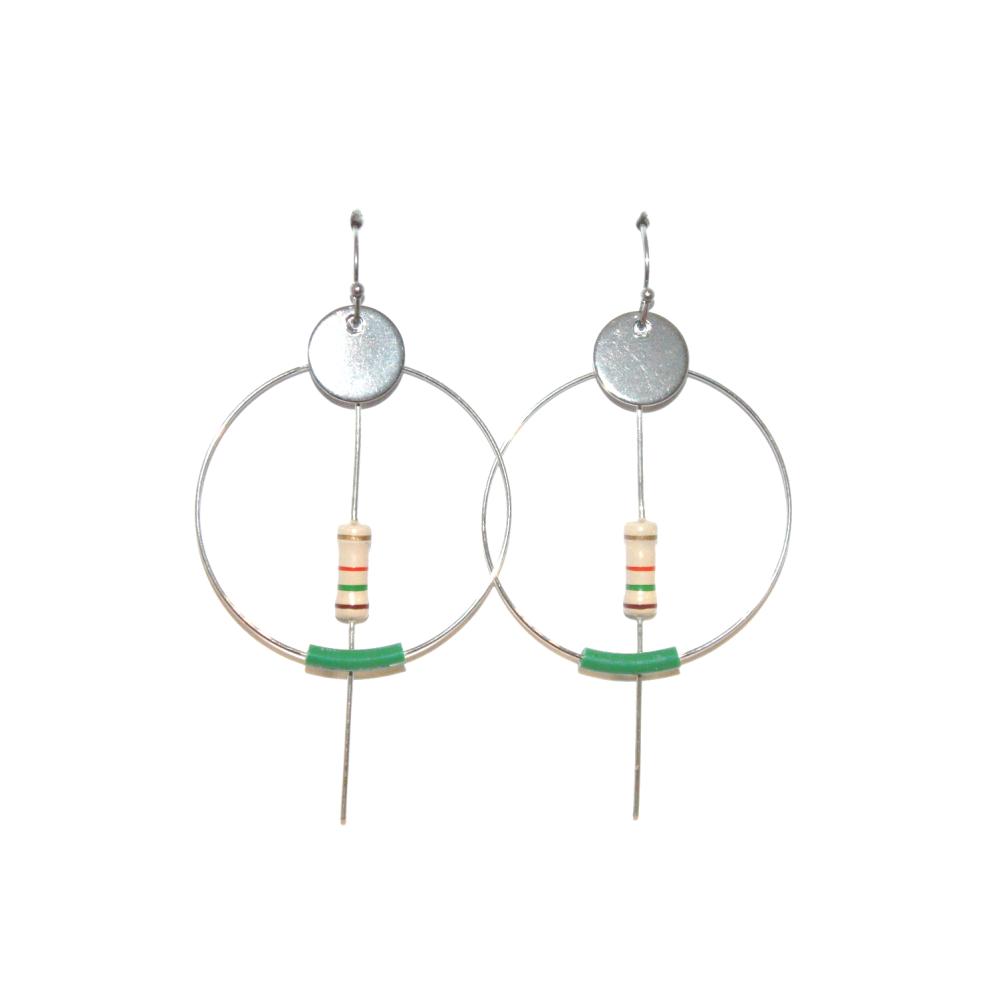 Créoles résistances et fil électriques recyclés VERT GM- Bijoux recyclés