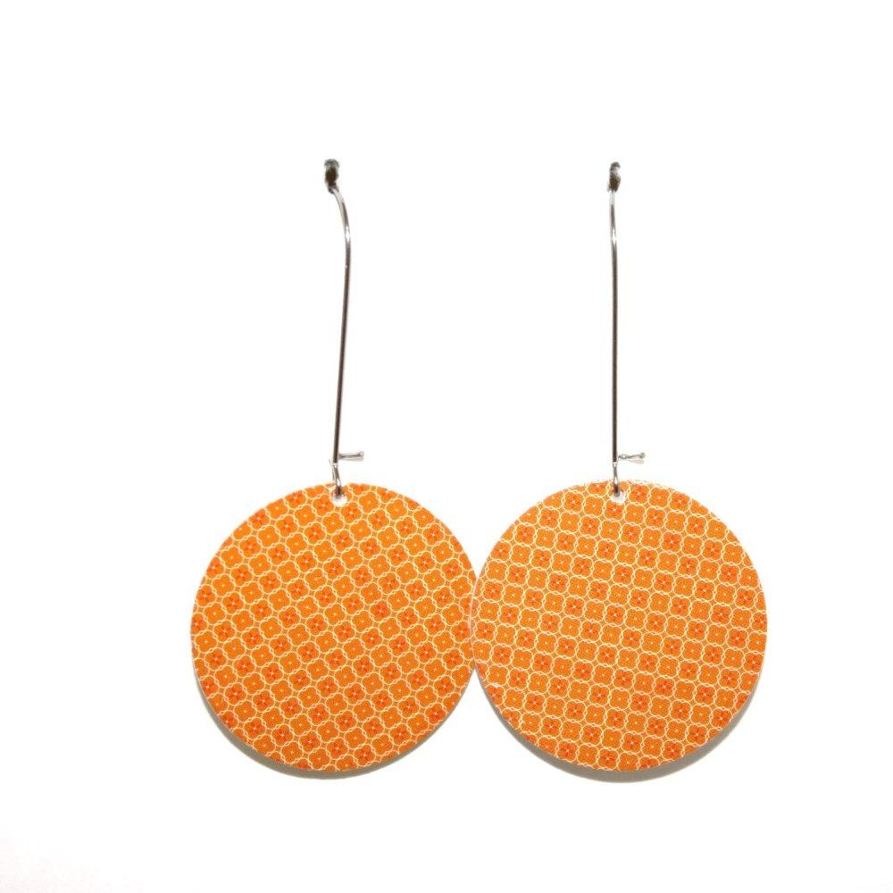 Boucles d'oreilles carton recyclé Orange - Bijoux recyclés