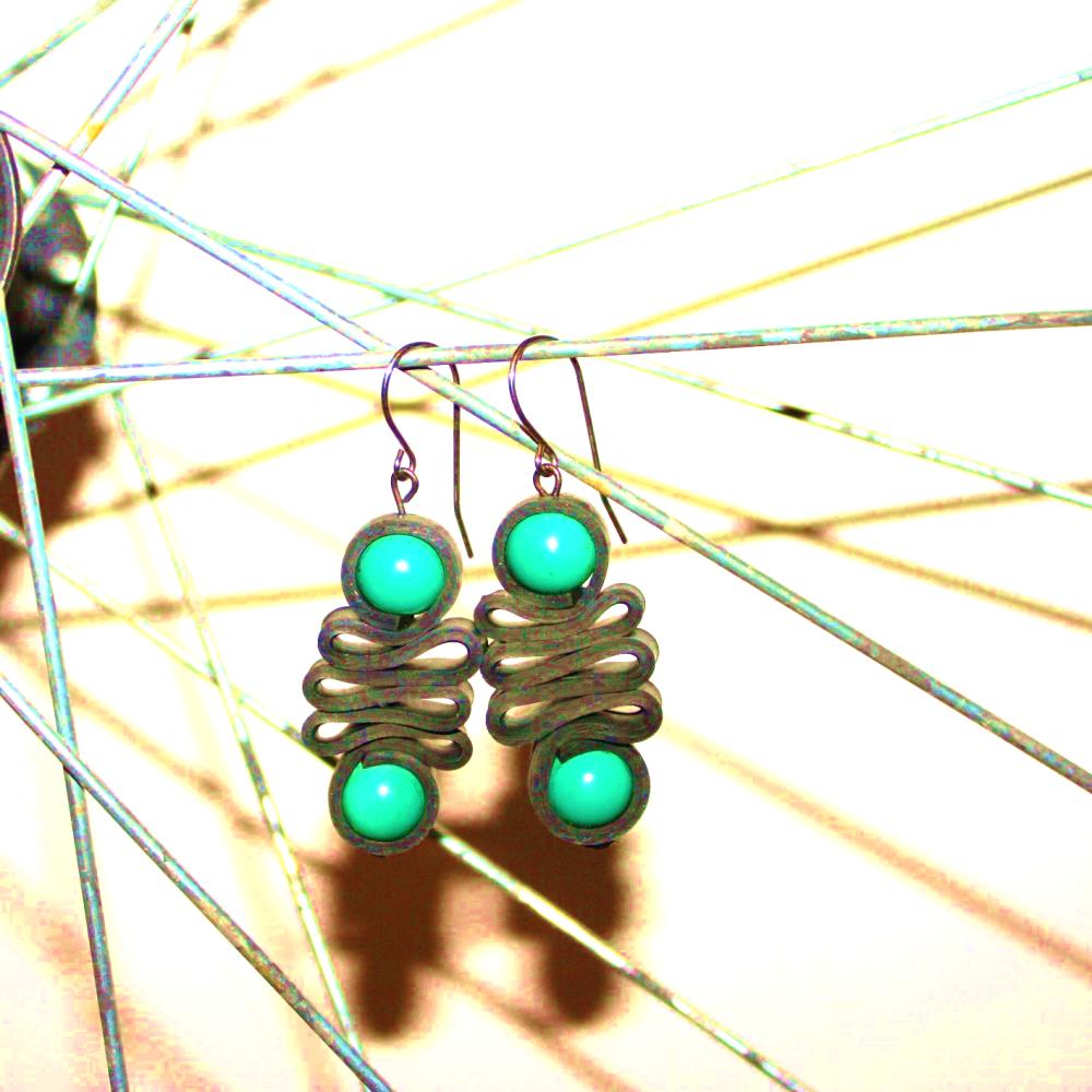 Boucles d'oreilles chambre à air recyclée ORANGE GM - Bijoux recyclés
