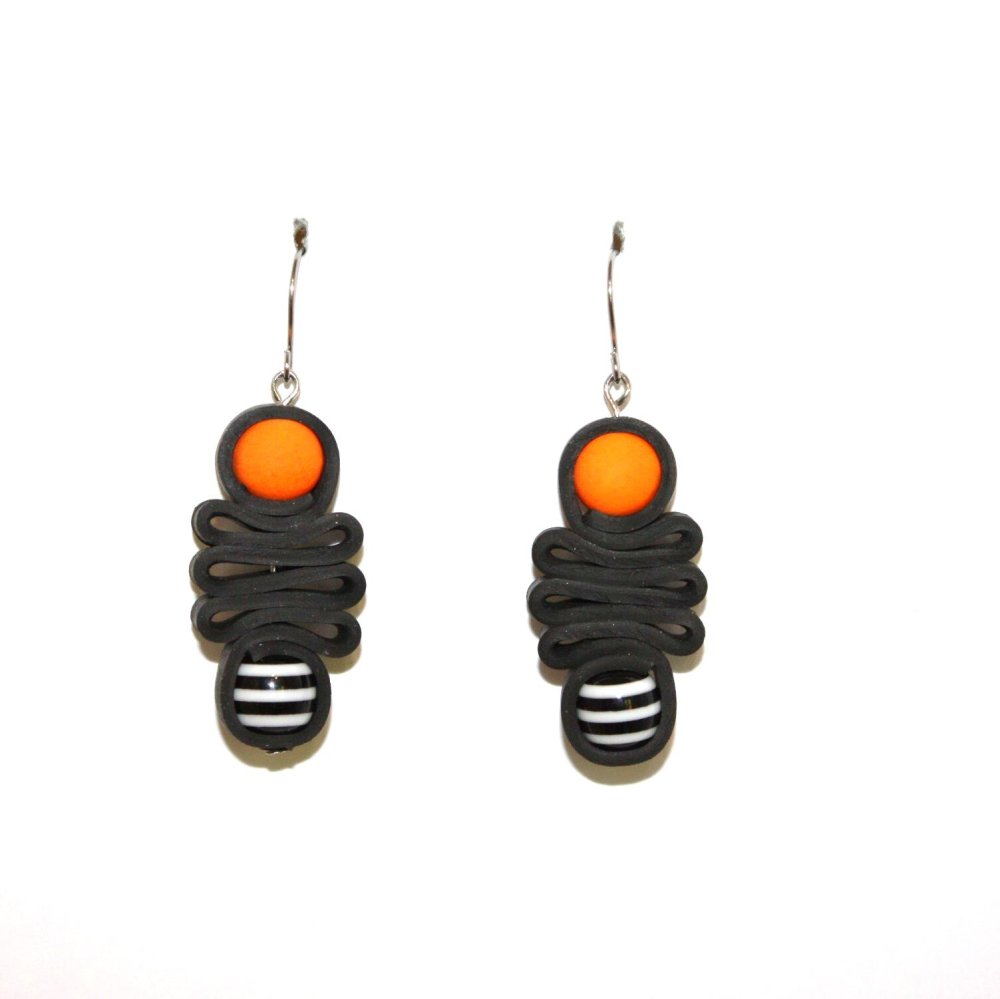 Boucles d'oreilles chambre à air recyclée Orange Rayé - Bijoux recyclés