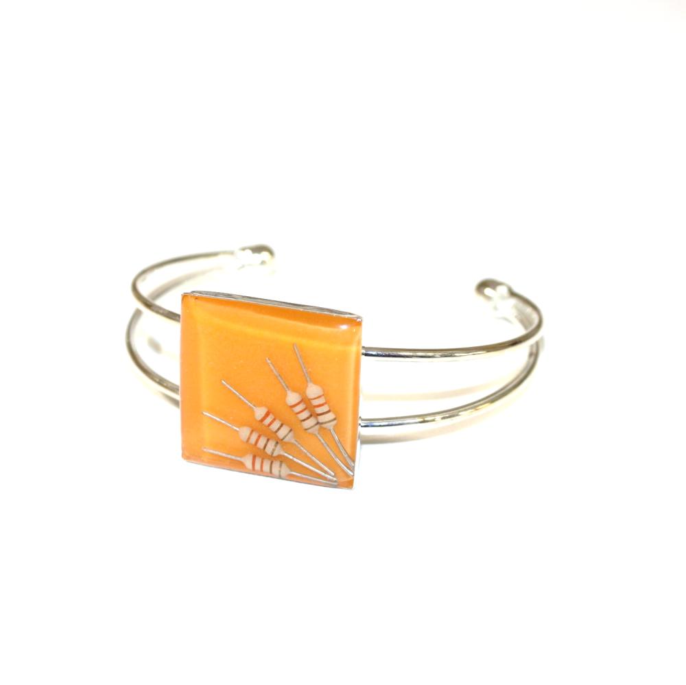Bague résistances électroniques recyclées Orange Foncé - Bijoux recyclés