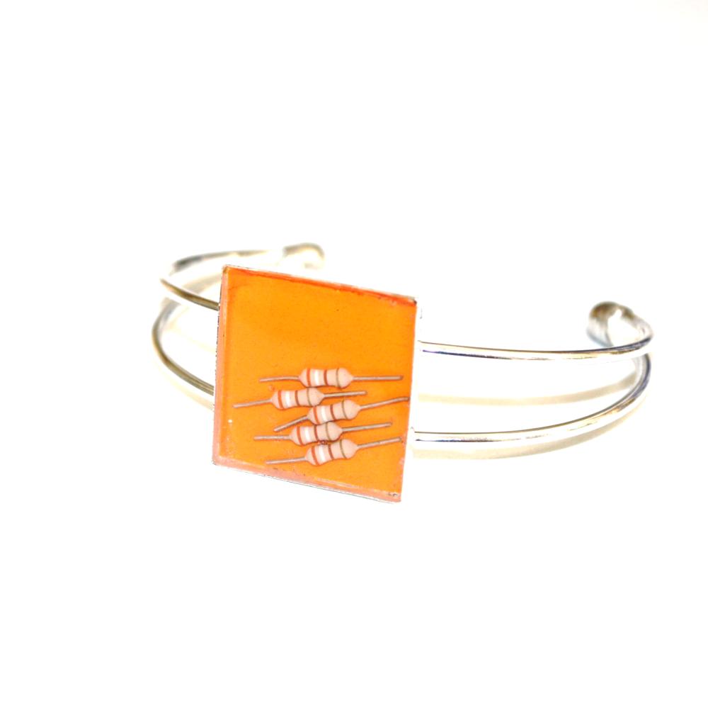 Bracelet résistances électroniques recyclées ORANGE - Bijoux recyclés