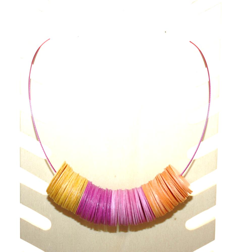 Collier plastique recyclé ORANGE/ROSE - Bijoux recyclés