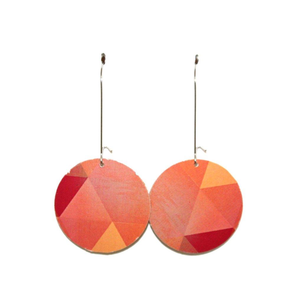 """Boucles d'oreilles carton recyclé """"motif triangles, roses et oranges"""" - Bijoux recyclés"""