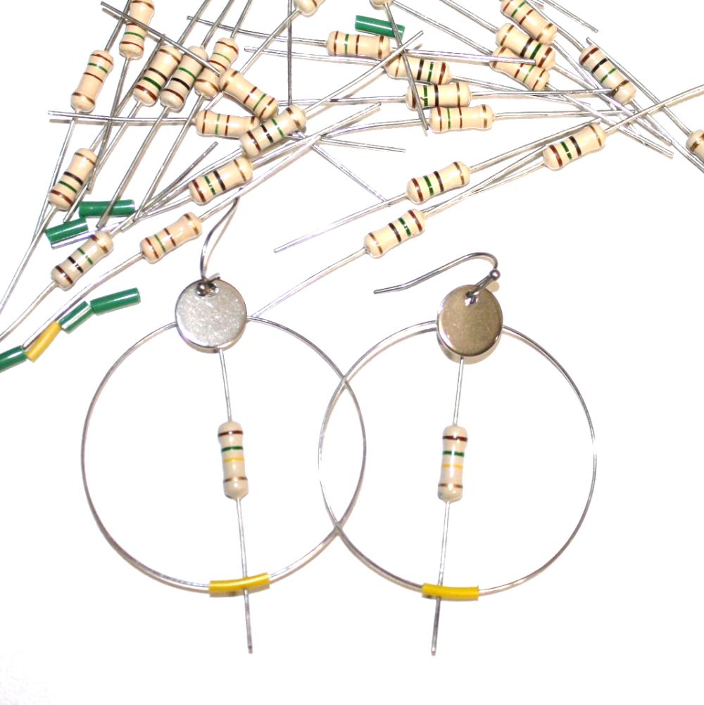 Bague résistances électroniques recyclées BLEU - Bijoux recyclés