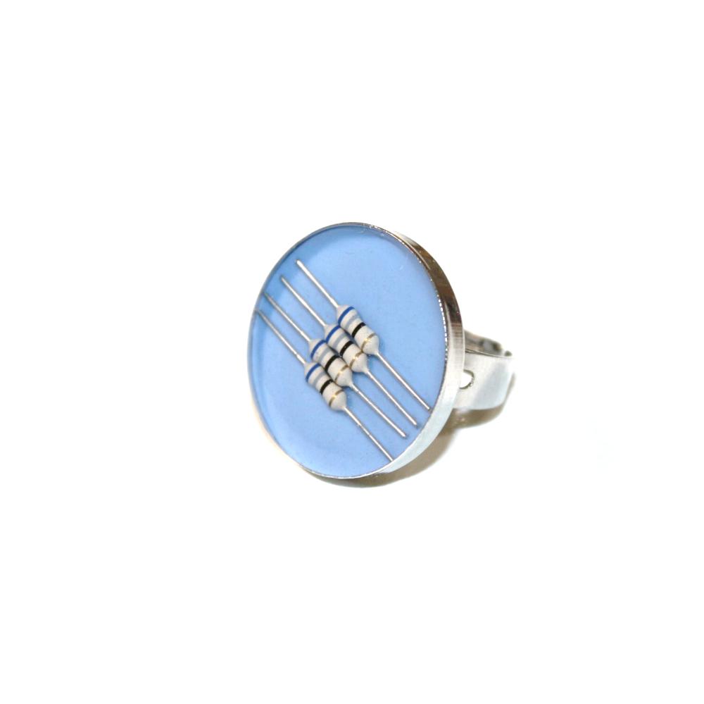 Bague résistances électroniques recyclées BLEU CLAIR - Bijoux recyclés