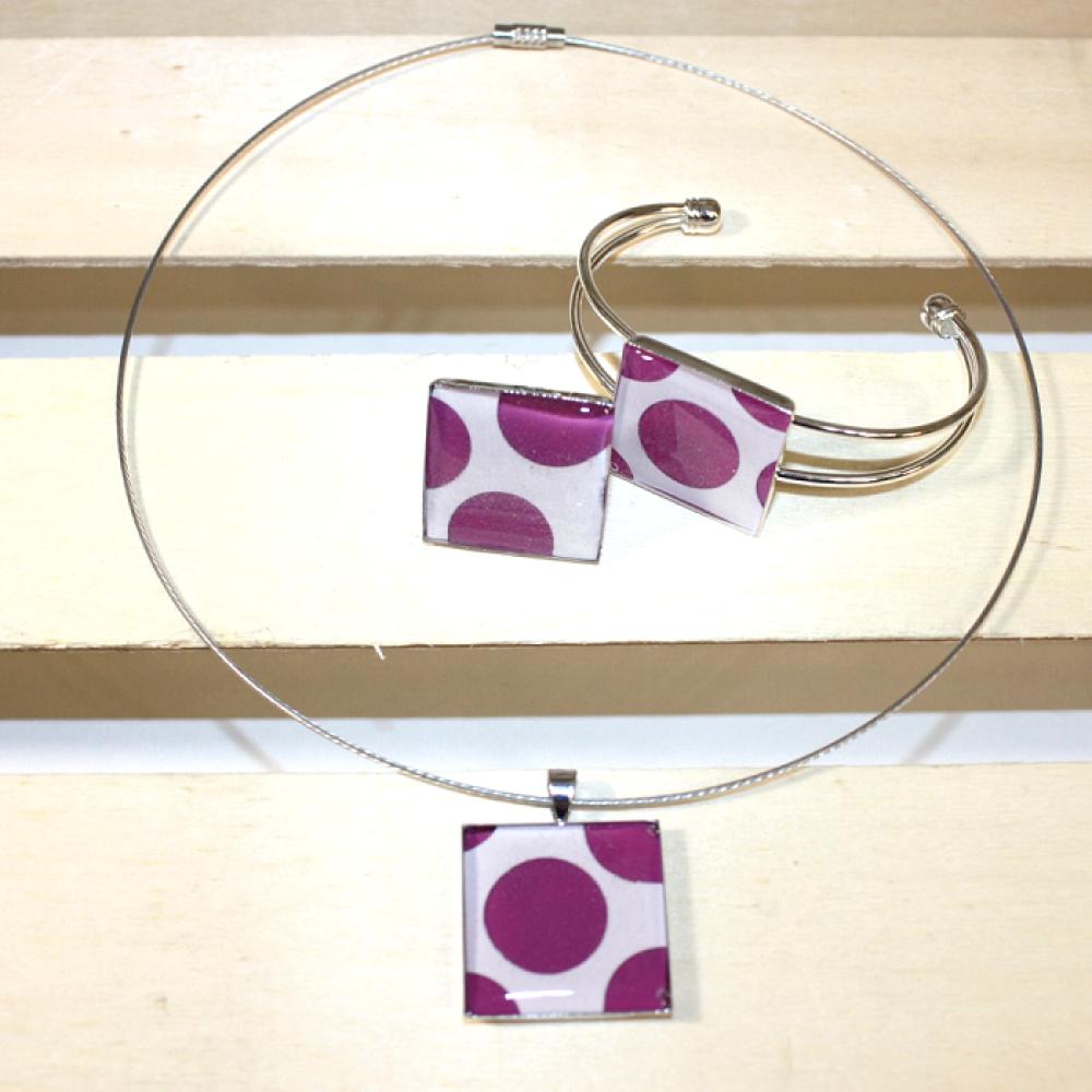 Bracelet plastique recyclé POIS BLEU CLAIR - Bijoux recyclés