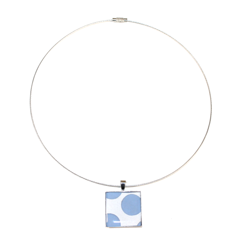 Collier plastique recyclées POIS BLEU CLAIR - Bijoux recyclés