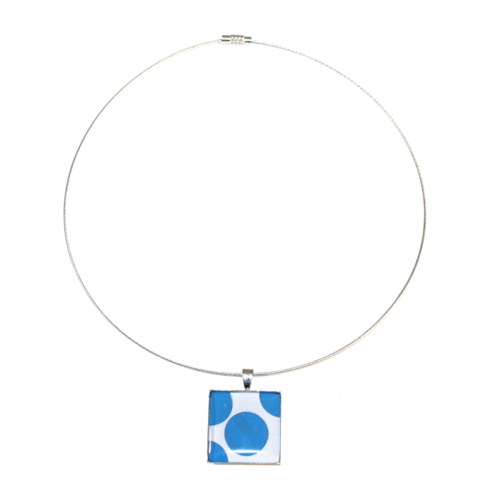 Collier plastique recyclées pois bleu - bijoux recyclés