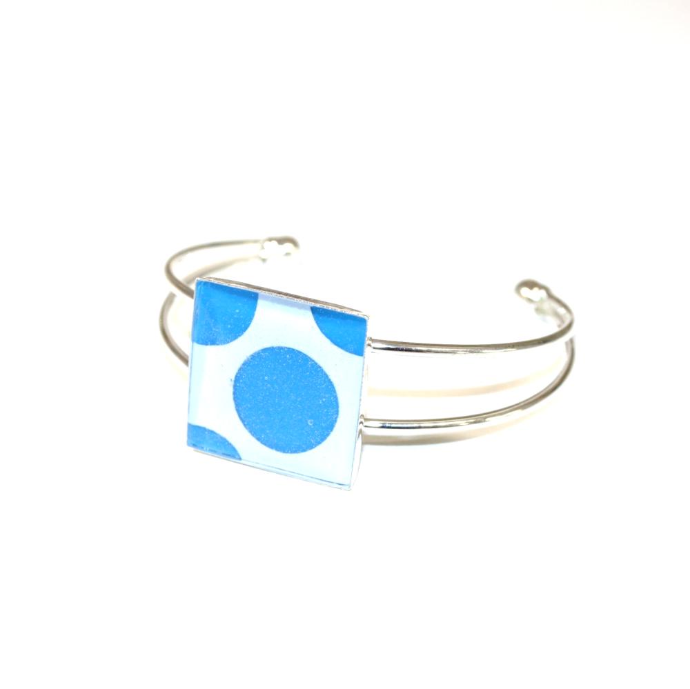 Bracelet plastique recyclé POIS BLEU BLANC - Bijoux recyclés