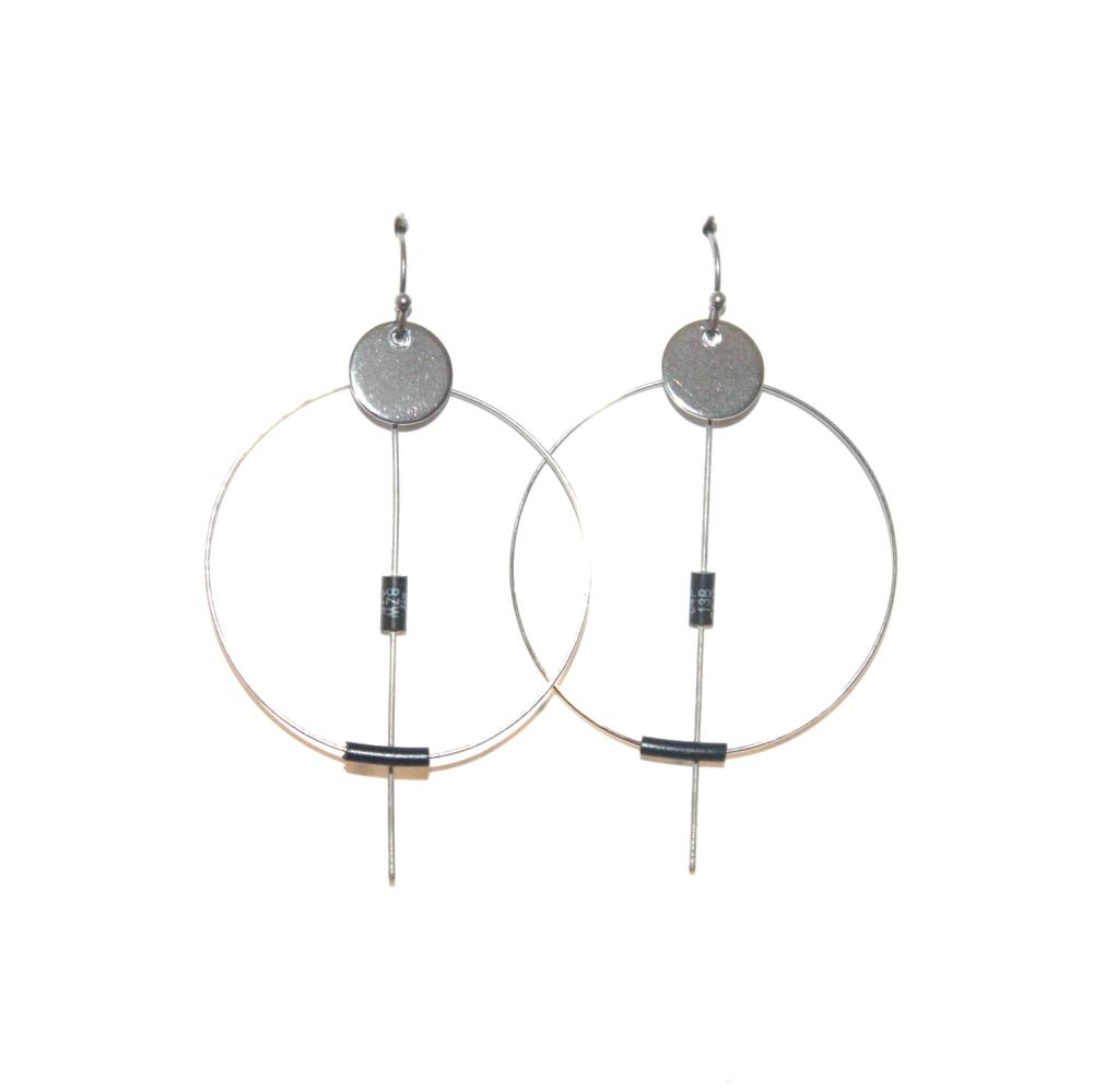 Collier résistances électroniques recyclées BLEU - Bijoux recyclés