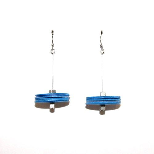 Boucles d'oreilles plastique recyclé bleu gm - bijoux recyclés