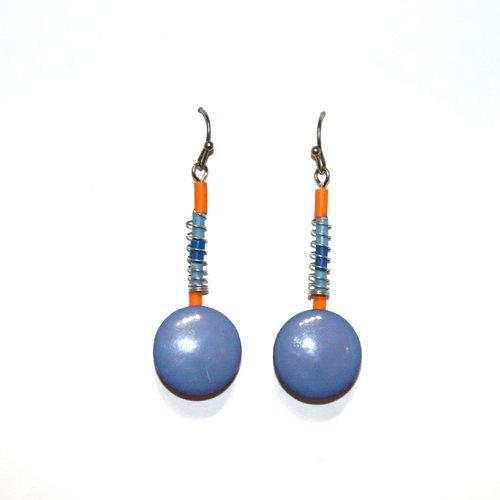 Boucles d'oreilles boutons recyclés bleu/orange - bijoux recyclés