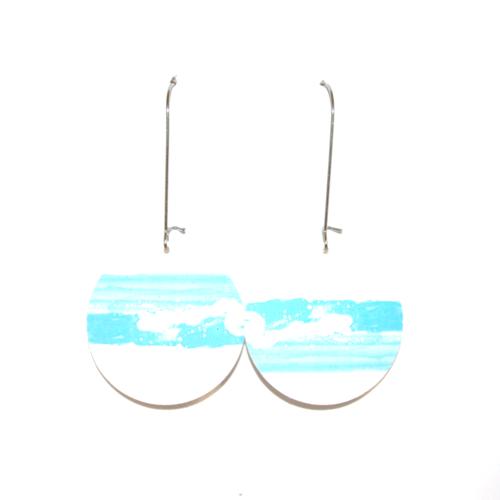 Boucles d'oreilles carton recyclé mer - bijoux recyclés