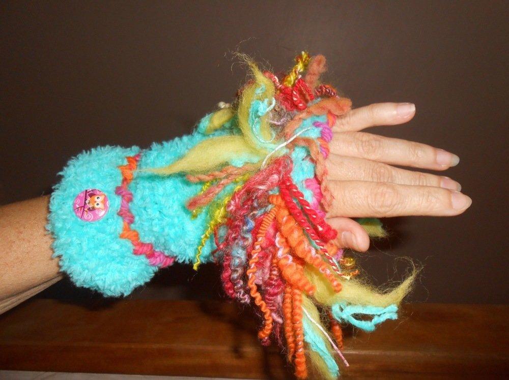 Manchettes mitaines au tricot, laine filée main, laine douce, turquoise et multicolore