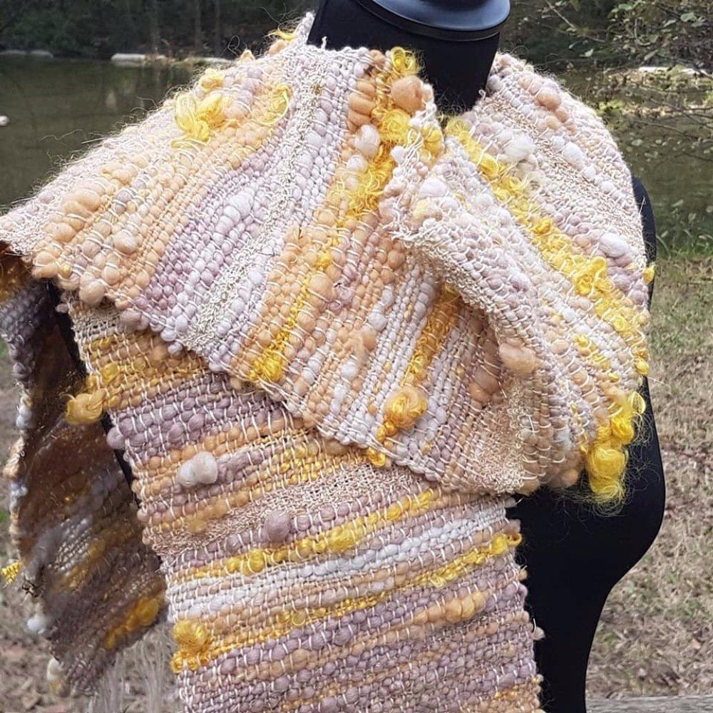 Tissage Saori en laines filées main et coton biologique
