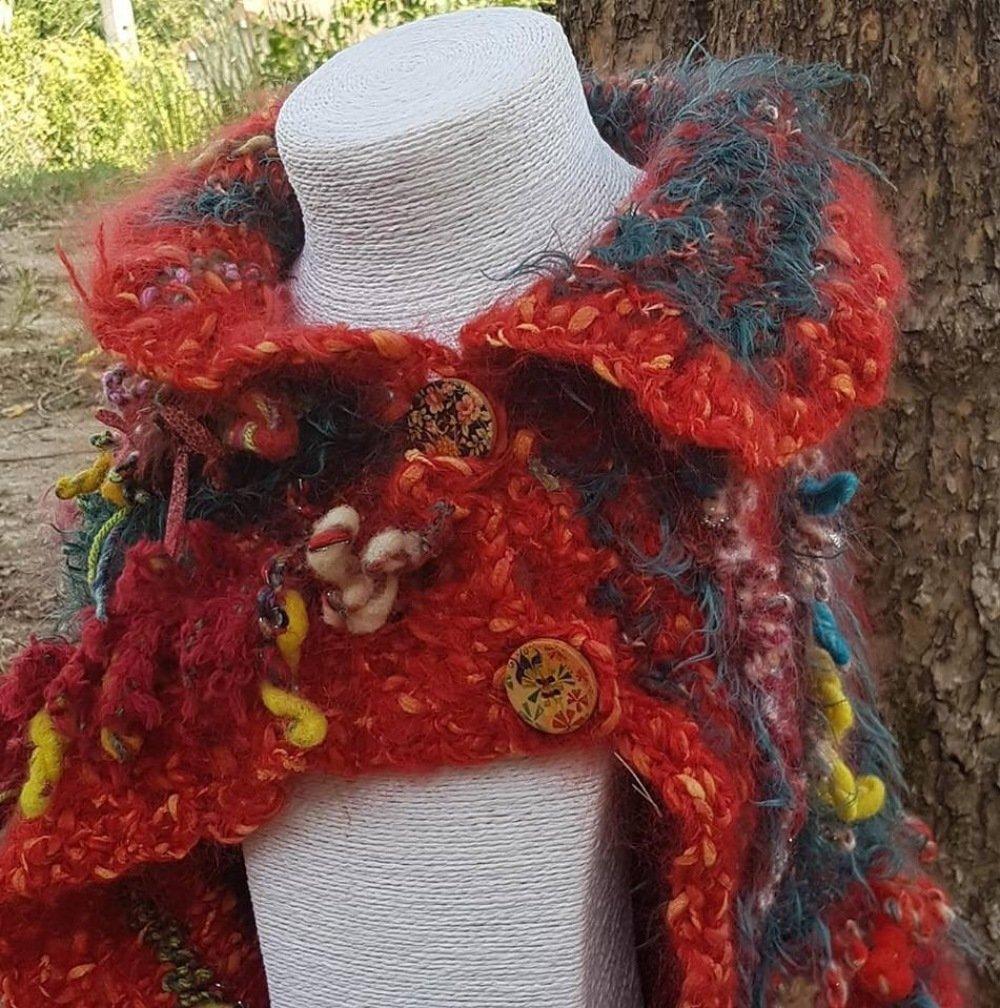 Col, châle en laines filées mains
