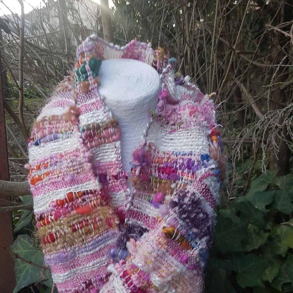 Tissage bohème Saori en coton biologique japonais et laines filées mains