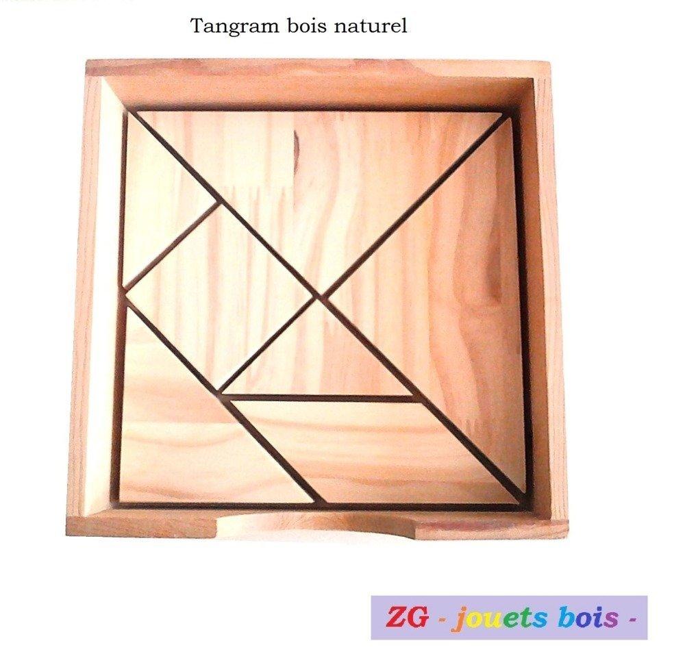 Tangram en bois brut, puzzle chinois en bois avec livret de modèles