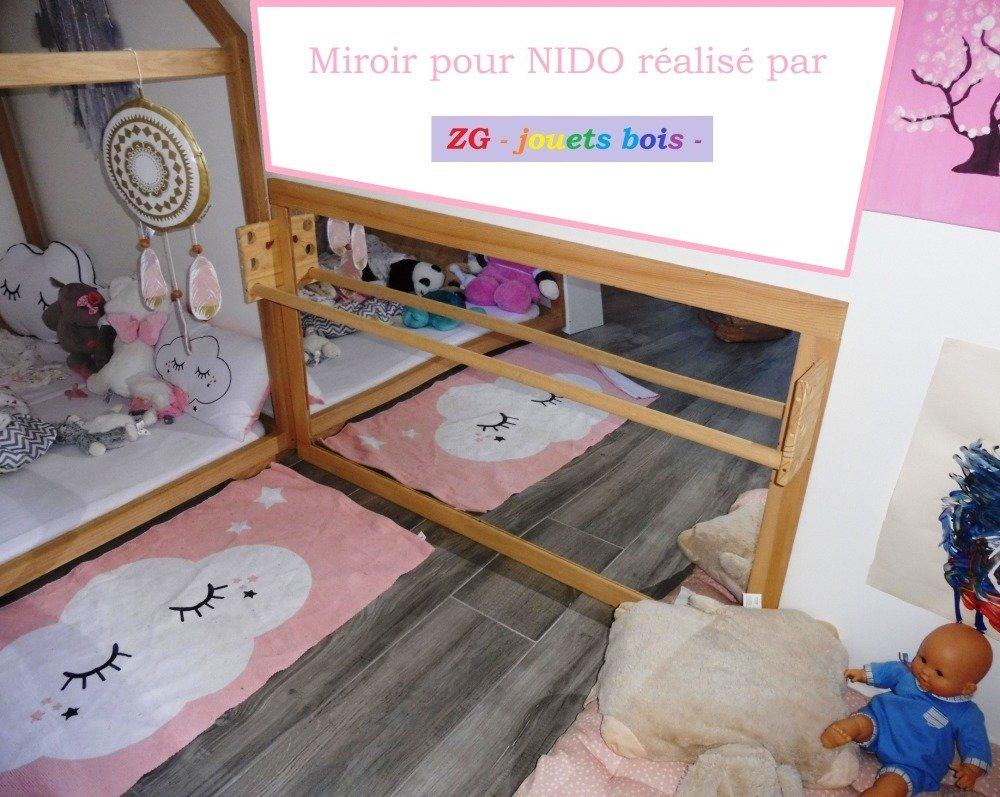 Miroir Montessori 110 x 70, miroir avec barre de maintien réglable, aménagement NIDO