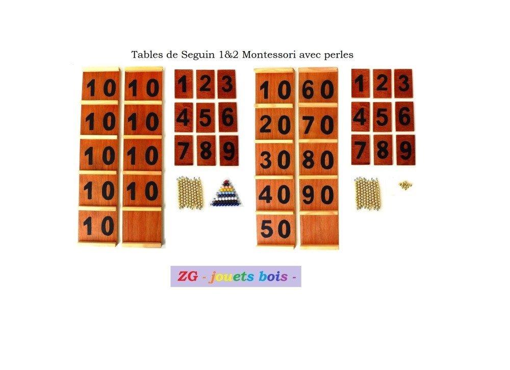 Table de Seguin 1 et 2 Montessori avec perles (10 doré) FORMULE COMPLETE