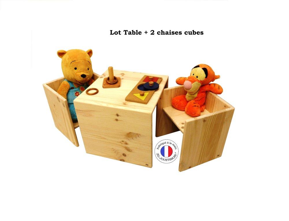 Table + 2 Chaises cube Montessori, 3 en 1, deux hauteur d'assise