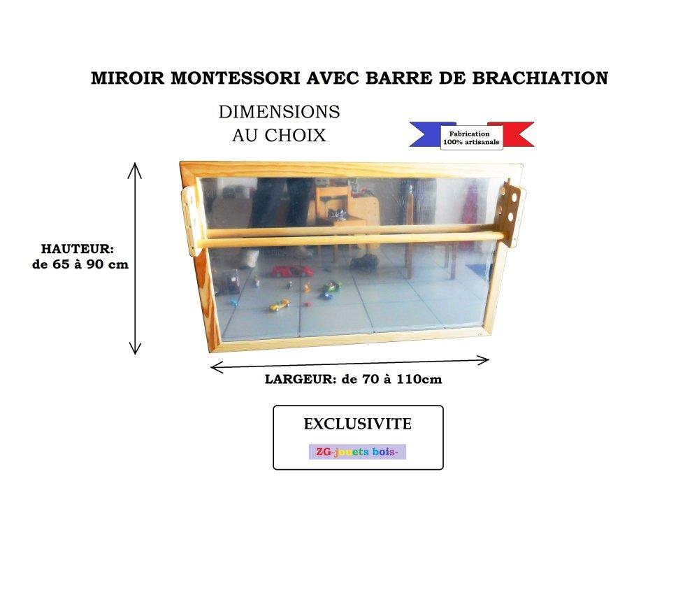 Miroir Montessori 80 x 80, miroir avec barre de maintien réglable, encombrement faible, aménagement NIDO