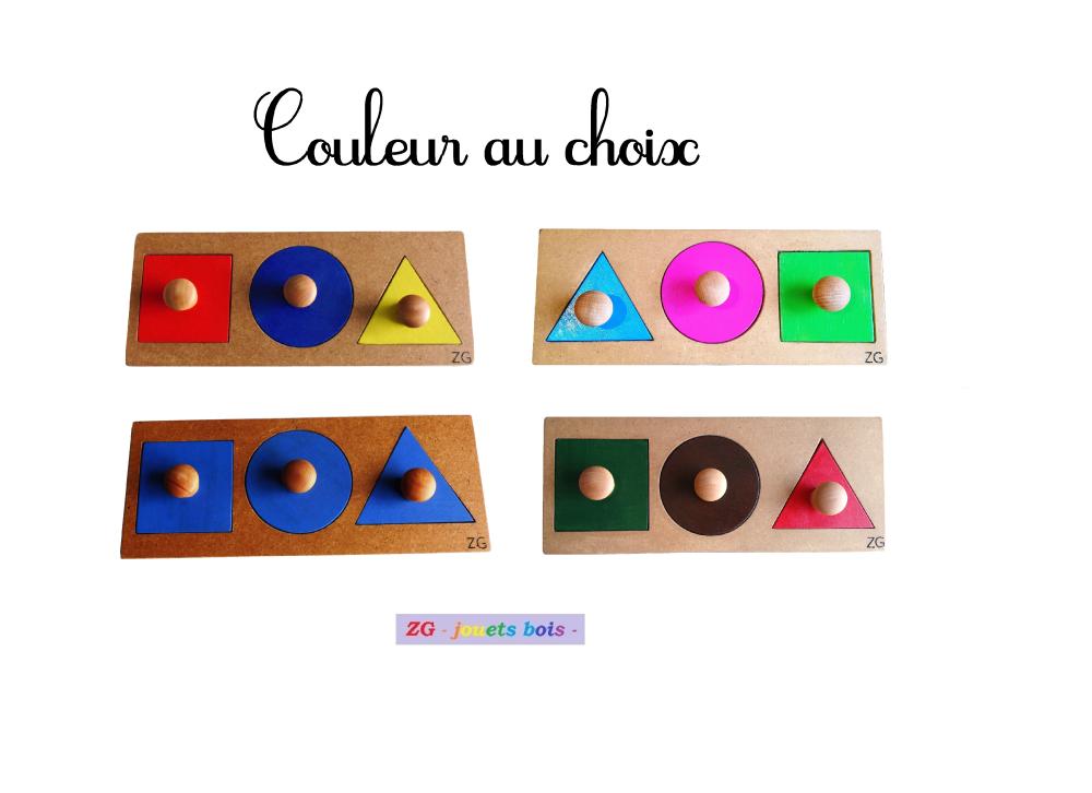 Puzzle / encastrement bois trois formes Montessori, couleur au choix