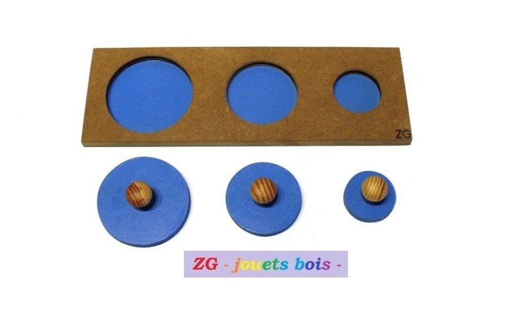 Encastrement / Puzzle bois Montessori trois cercles