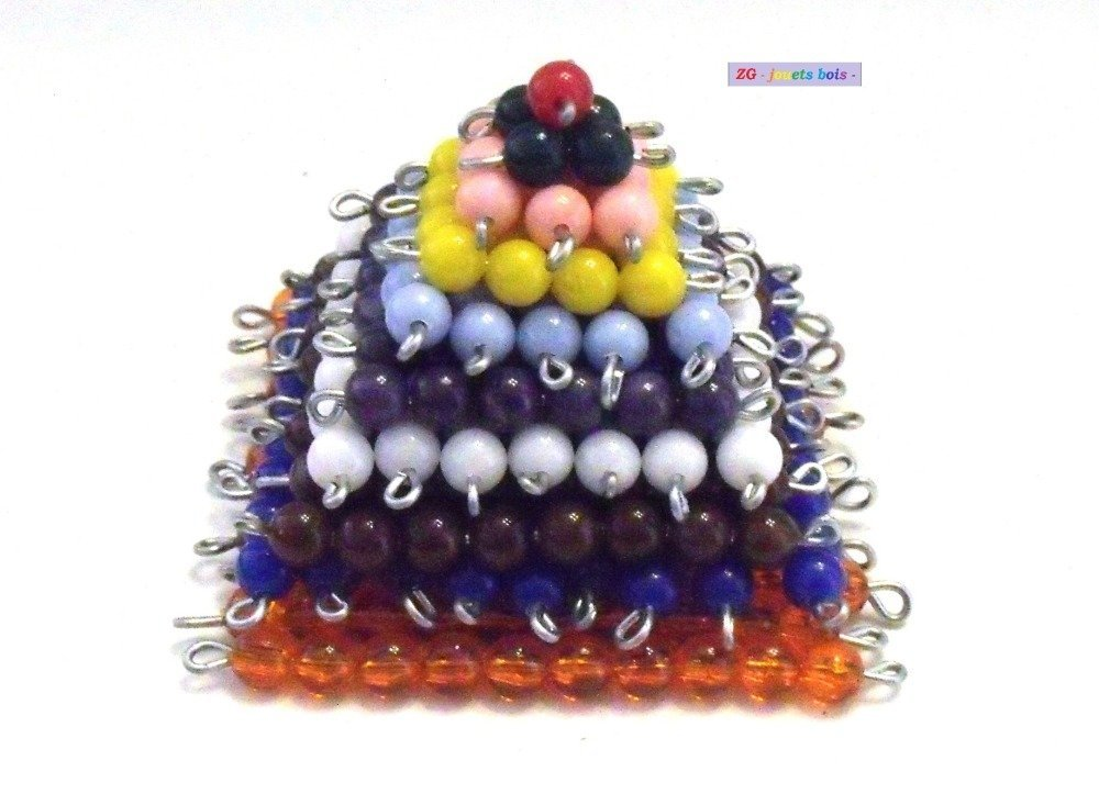 Pyramide perles Montessori  10 orange (montées)