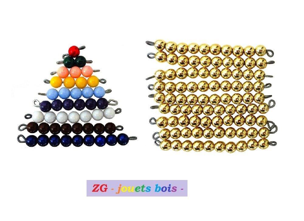 Table de Seguin 1 Montessori avec perles (10 doré)