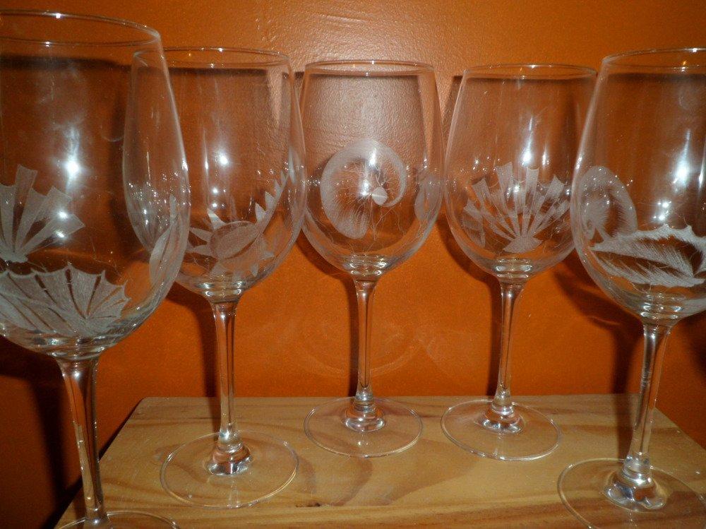 Verres en gravure sur verre motif coquillages personnalisables