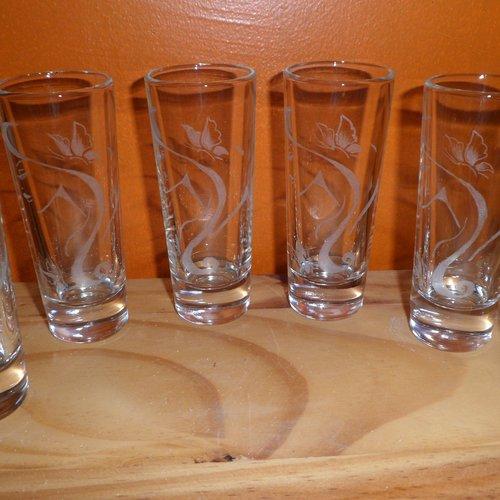 6 verres à limoncello en gravure sur verre, personnalisables