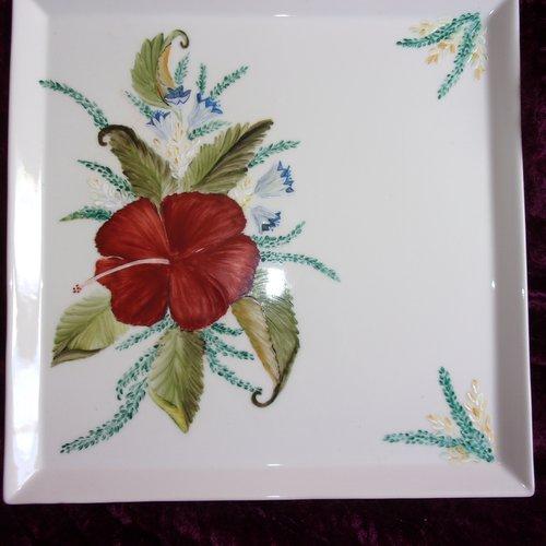 Plat de service ou plat à gâteau motif hibiscus, personnalisable