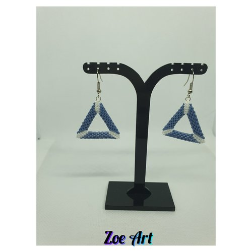 Boucles d'oreilles 3d bleues et blanches en perles de verre (z20067)